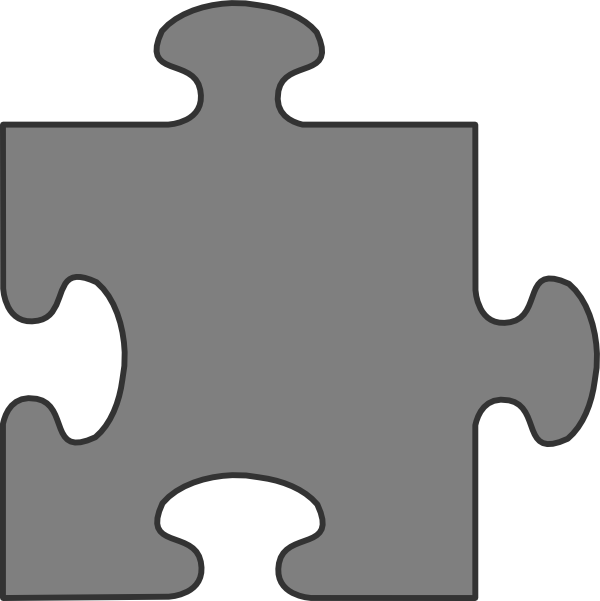 600x601 Gray Border Puzzle Piece Top Clip Art