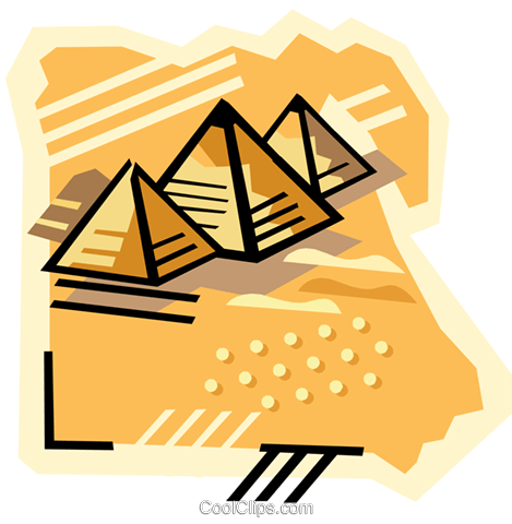 469x480 Geotechnical Style, Egypt, Pyramids Royalty Free Vector Clip Art