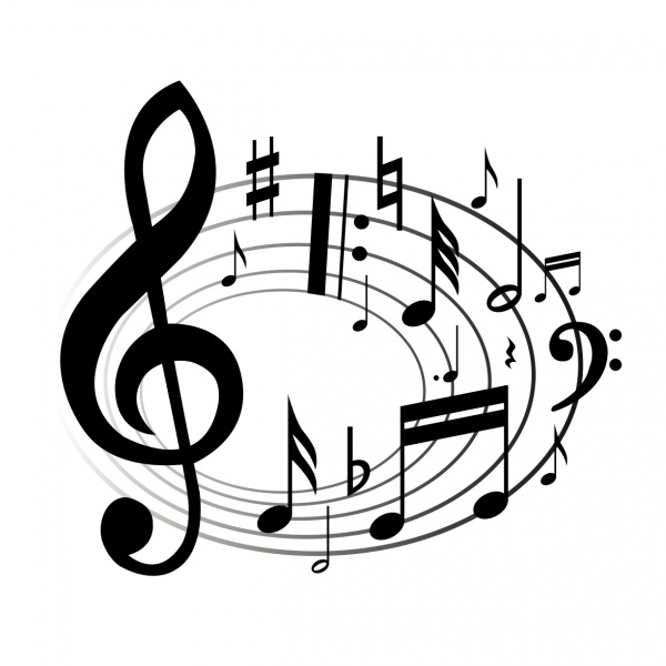 600x600 Drawn Music Notes Transparent White