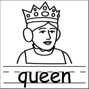 304x304 Clip Art Basic Words Queen Bampw Labeled I Abcteach