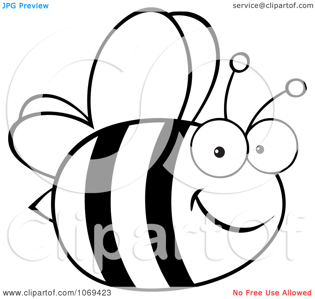 1080x1024 Bee Clipart Black And White