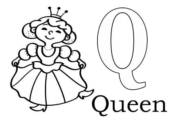 600x425 Learn Alphabet Letter Q For Queen Letter Q Coloring Page Bulk Color