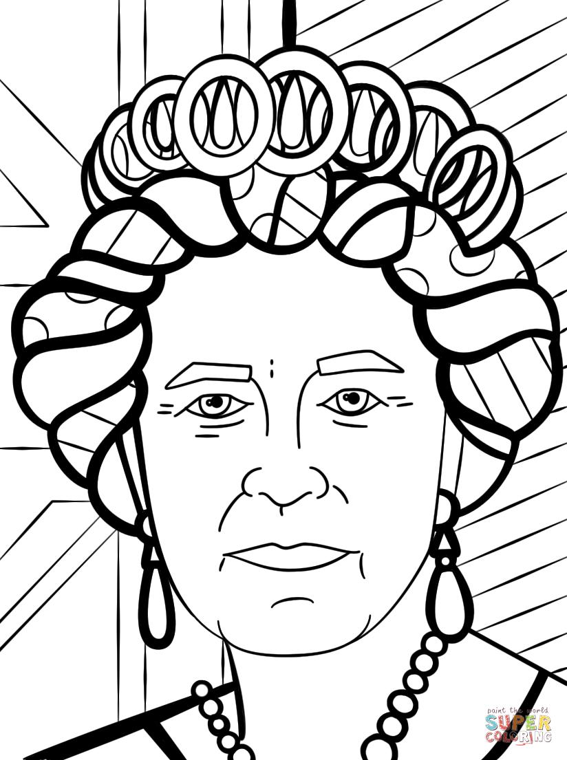 824x1105 Queen Elizabeth By Romero Britto Coloring Page Free Printable