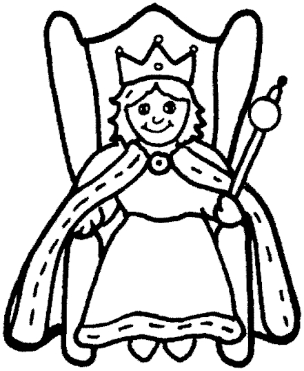441x537 Queen Clipart Coloring Page