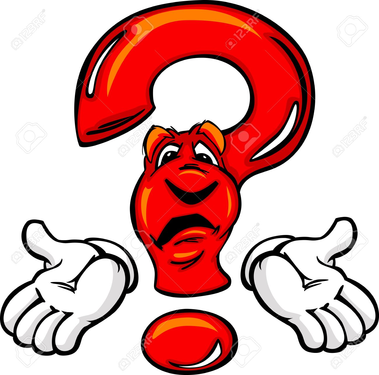 1300x1288 Cartoon Question Mark With Face Pondering Creativity Or Confused