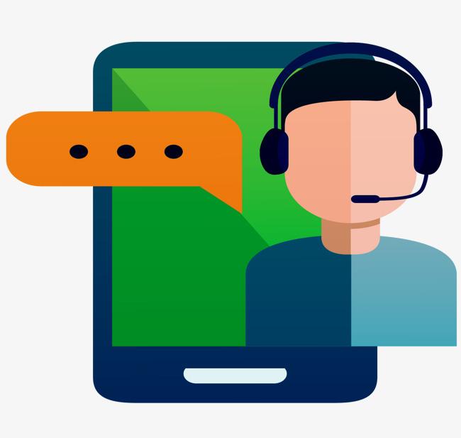 650x617 Vector Cartoon Phone Micro Letter Customer Service Answer