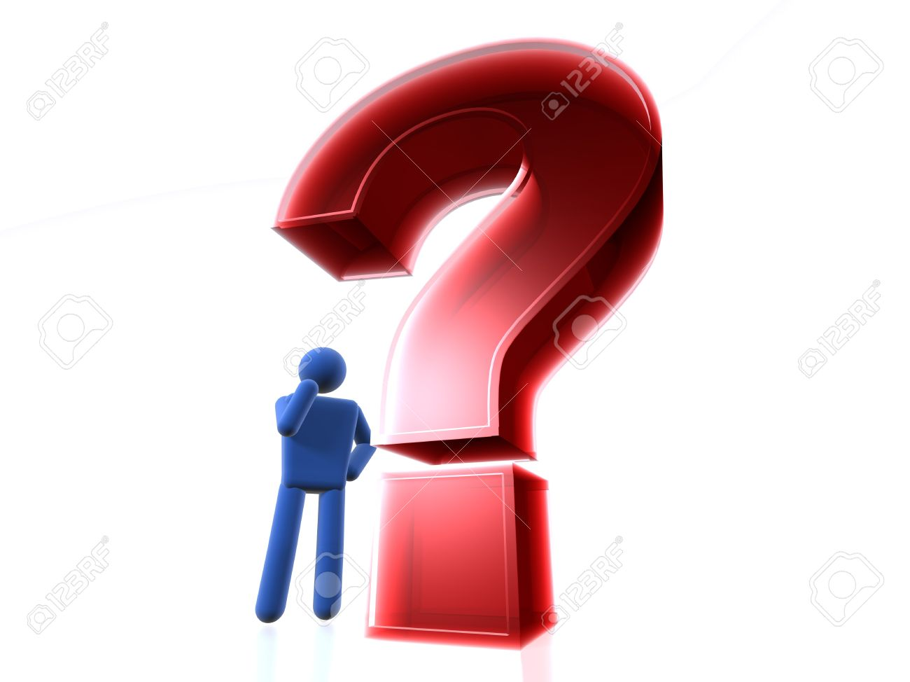 1300x974 3d Figure Thinking Next To A Question Mark Stock Photo, Picture