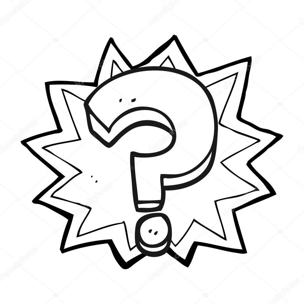 1024x1024 Black And White Cartoon Question Mark Stock Vector