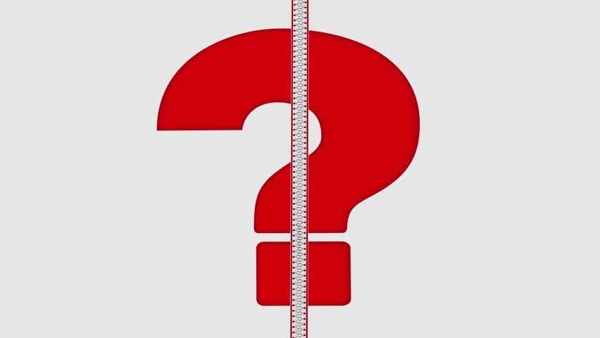 852x480 Zipper Big Red Question Mark. Animation Of Zip Fastener