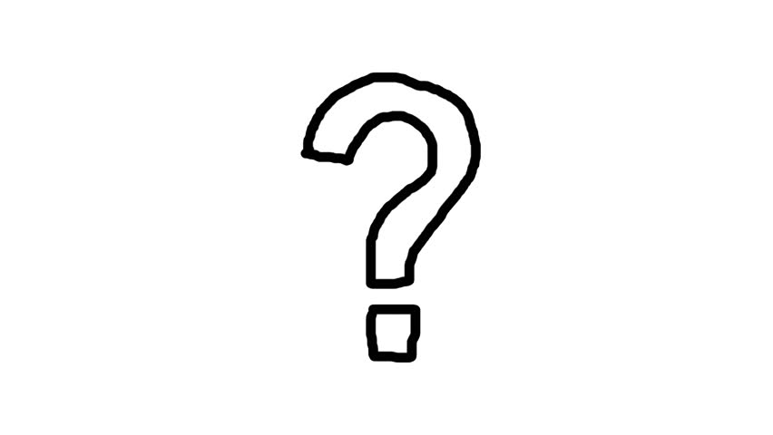 852x480 Handmade Question Mark Doodle Animation. Pure White Background
