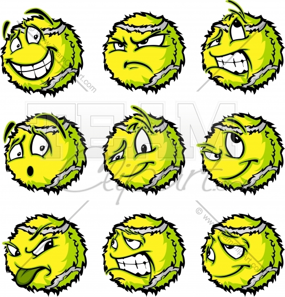 567x590 Tennis Ball Cartoon Faces With A Variety Of Facial Expressions