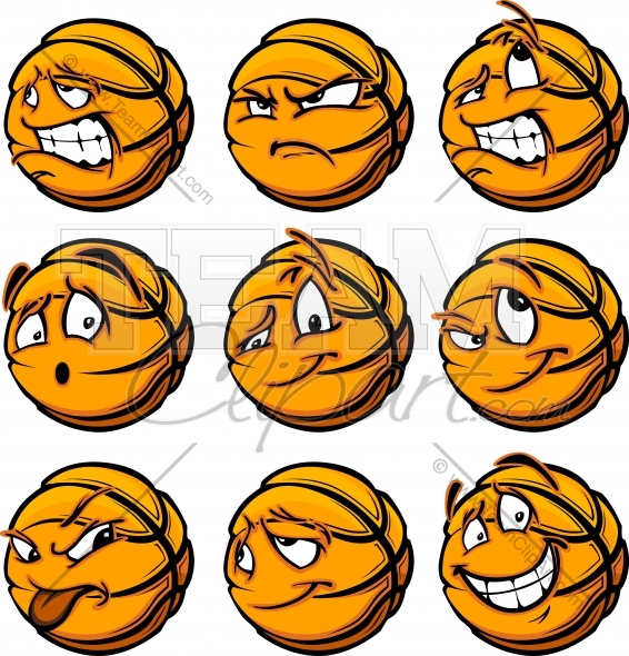 566x590 Basketball Ball Cartoon Faces With A Variety Of Facial Expressions