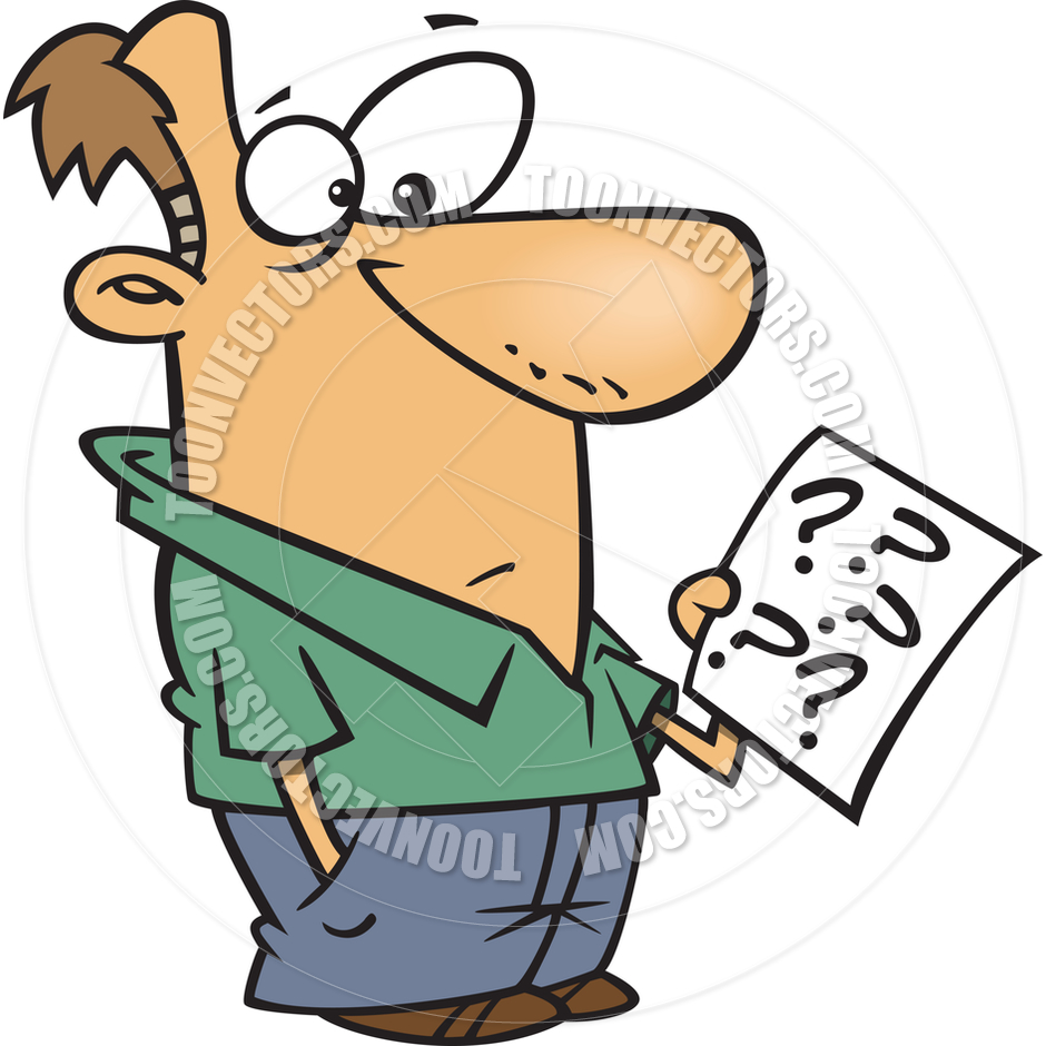940x940 Cartoon Man Holding Questionnaire By Ron Leishman Toon Vectors