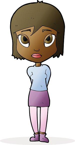 301x575 Cartoon Shy Girl Premium Clipart