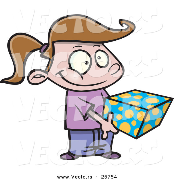 600x620 Cartoon Vector Of A Shy Girl Holding A Present By Toonaday