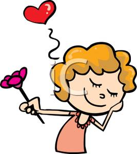 267x300 Free Clipart Image A Shy Girl Holding A Flower With A Red Heart