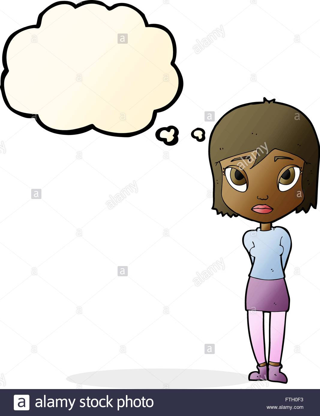 1067x1390 Cartoon Shy Girl With Thought Bubble Stock Vector Art