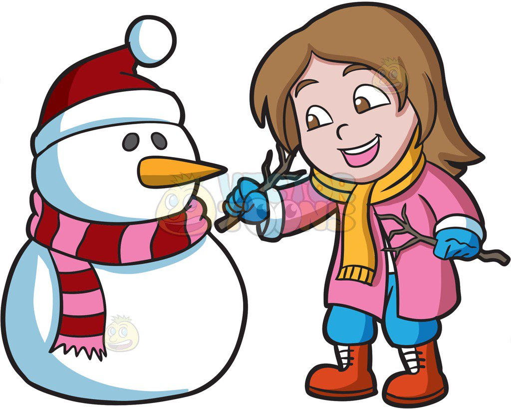 1024x820 A Girl Placing Tree Stems To Make The Arms Of A Snowman At A Quiet