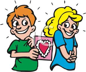 300x250 Art Image A Smiling Boy Giving A Valentine Card To A Shy Girl