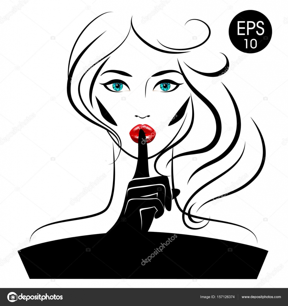963x1024 Quiet Please. Vector Woman With Index Finger On Her Lips Stock