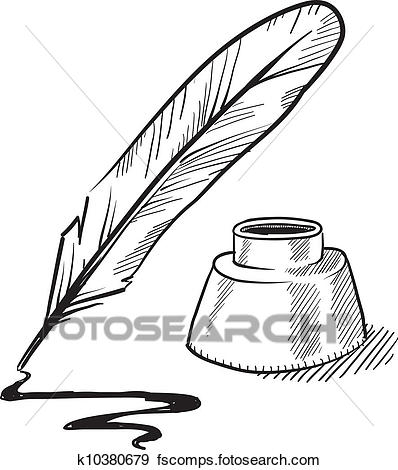398x470 Clip Art Of Quill Pen And Inkwell Sketch K10380679