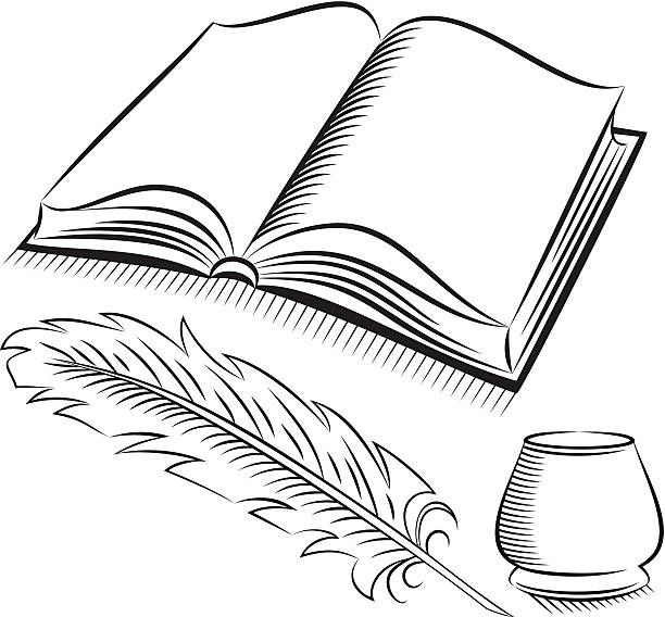 612x568 Book And Quill Clipart
