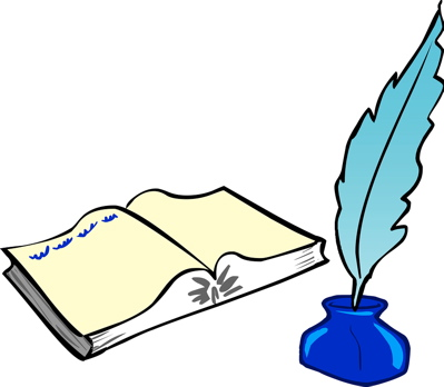 399x348 Book And Quill Clipart