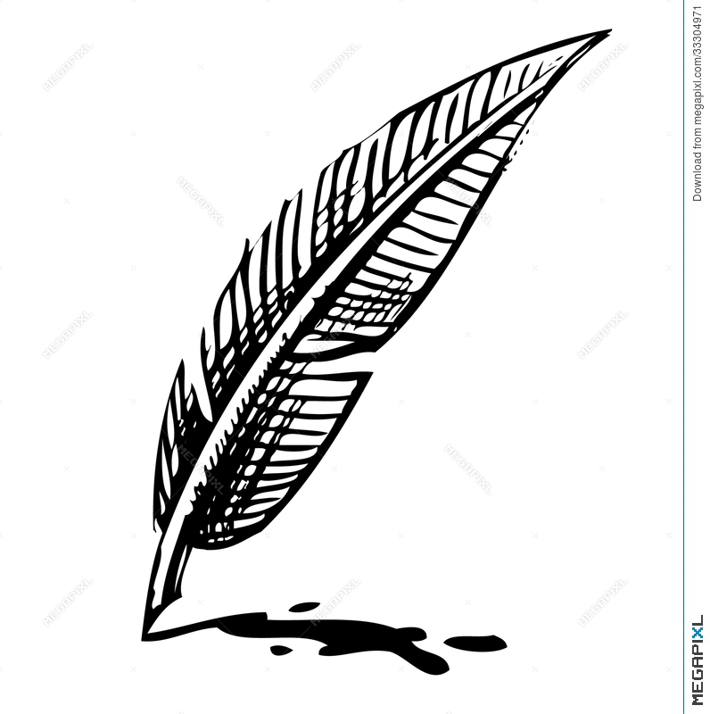 796x800 Writing Quill With Ink Blot Illustration 33304971
