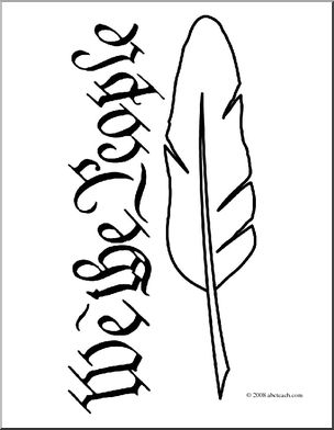 304x392 Clip Art Quill Pen 2 (Coloring Page) I Abcteach