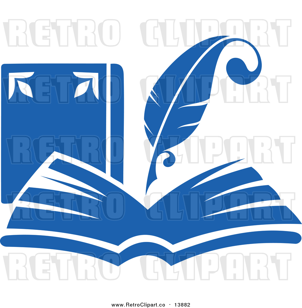 1024x1044 Vector Clipart of a Retro Blue Quill Pen Writing in an Open Book