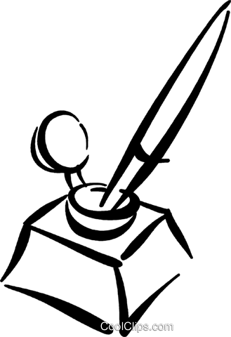 329x480 fountain pen in an inkwell Royalty Free Vector Clip Art