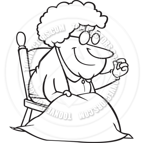 460x460 Cartoon Elderly Woman Sewing A Quilt (Black Amp White Line Art) By