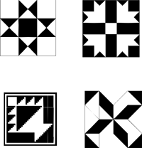 200x208 Quilt Pattern Clip Art Black And White