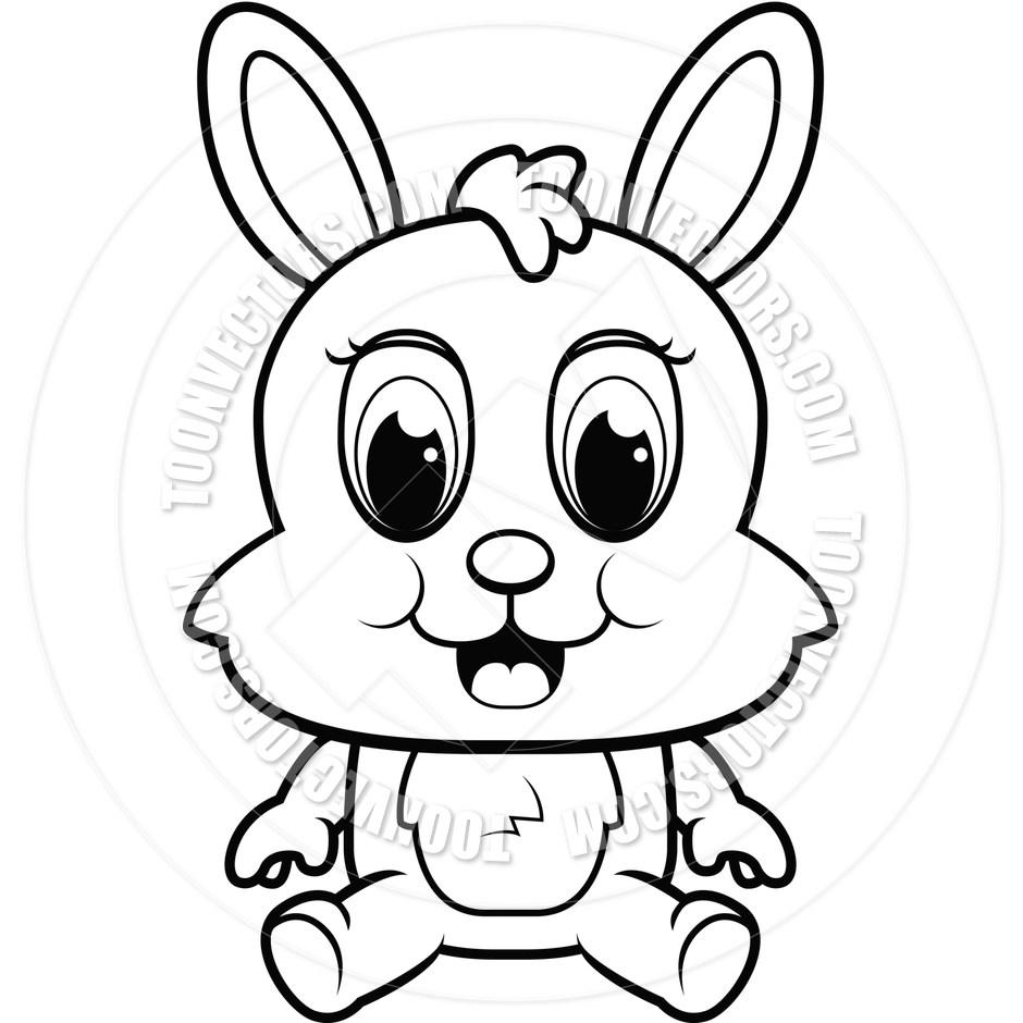 940x940 Baby Bunny (Black And White Line Art) By Cory Thoman Toon
