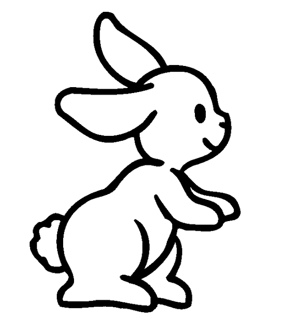 612x652 Funny cartoon outline rabbit with cute tail tattoo design