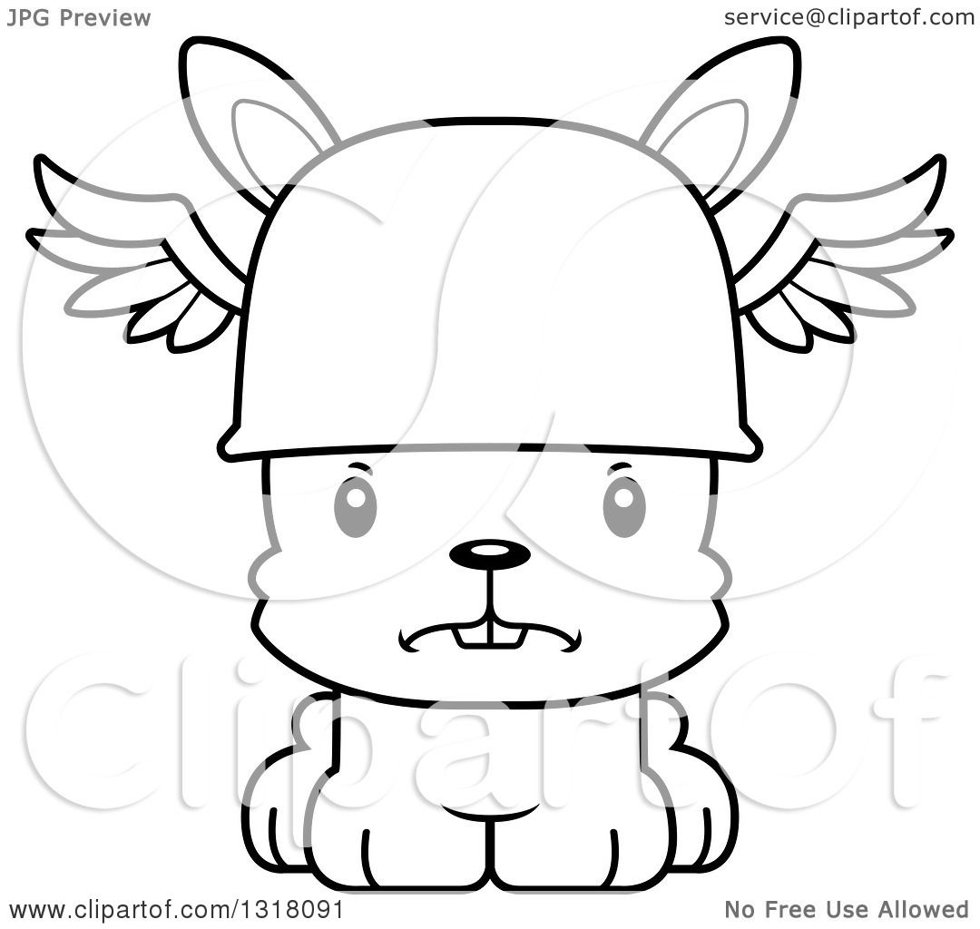 1080x1024 Animal Lineart Clipart of a Cartoon Black and White Cute Mad