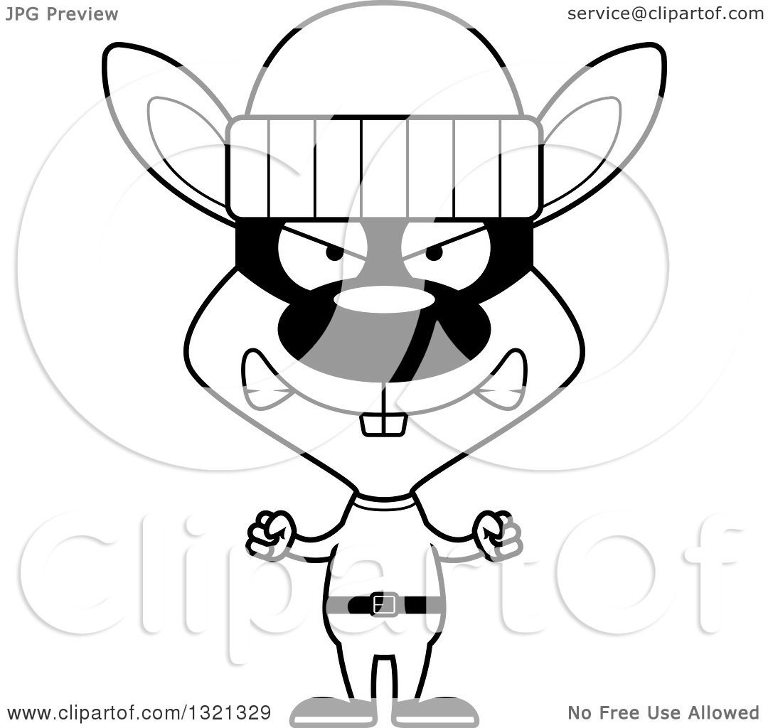 1080x1024 Lineart Clipart of a Cartoon Black and White Mad Rabbit Robber