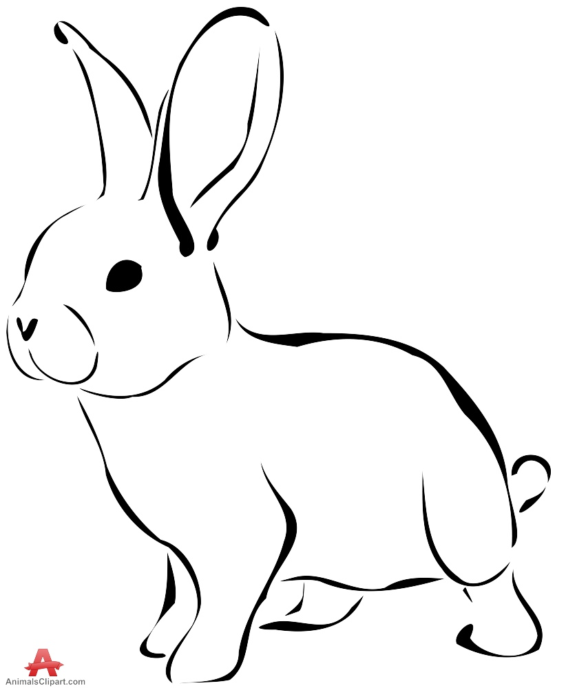 822x999 Rabbit clipart outline in black and white free clipart design