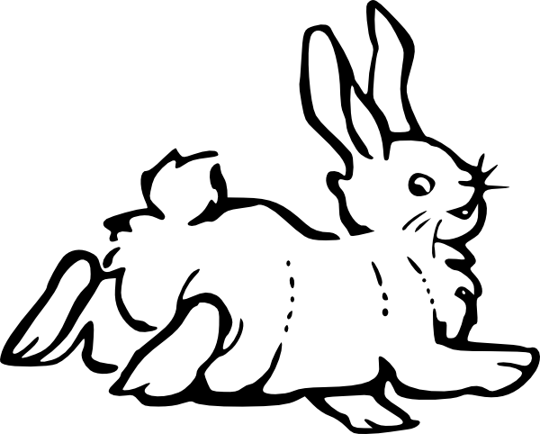 600x482 Running Rabbit Outline Clip Art