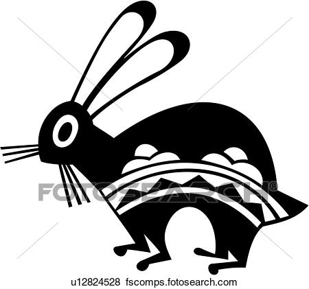 450x421 Clip Art Of , Bunnies, Bunny, Rabbit, Southwest, U12824528