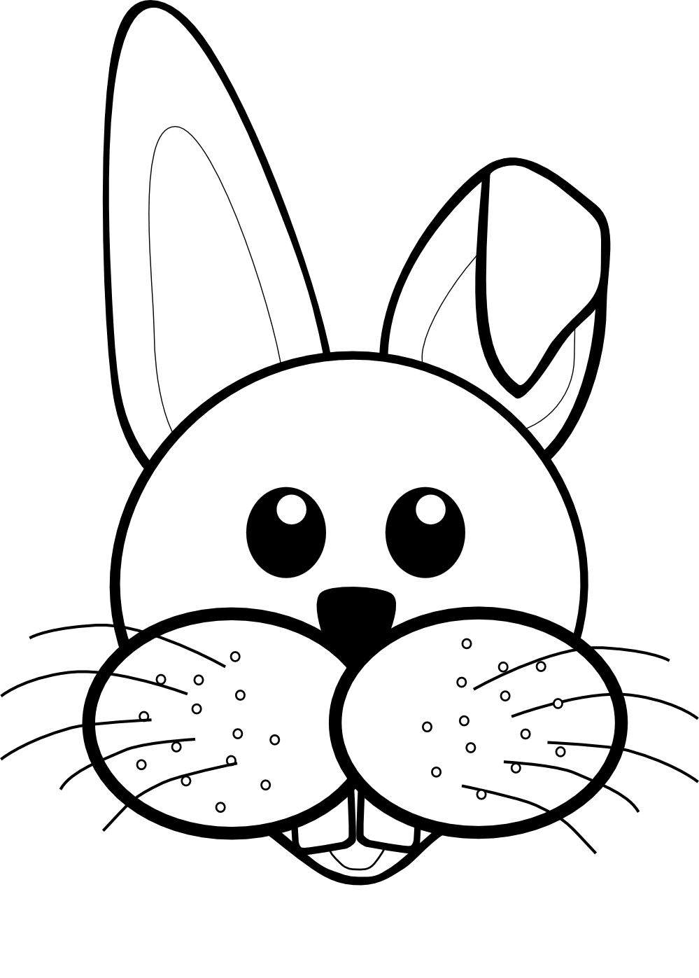 999x1397 Bunny Black And White Rabbit Face Clipart Black And White