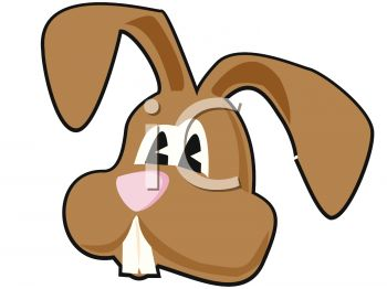 350x262 Clip Art Illustration Of The Face Of A Brown Easter Bunny
