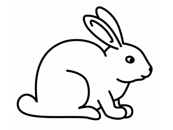570x428 Clipart Of Rabbit Black And White