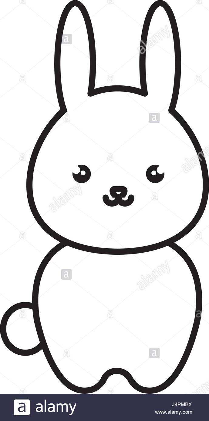 689x1390 Cute And Tender Rabbit Kawaii Style Stock Vector Art