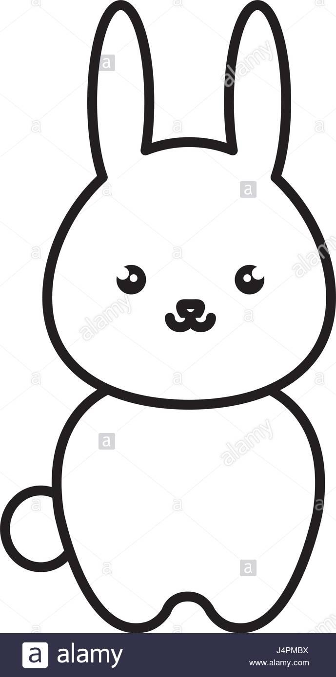 689x1390 Cute And Tender Rabbit Kawaii Style Stock Vector Art