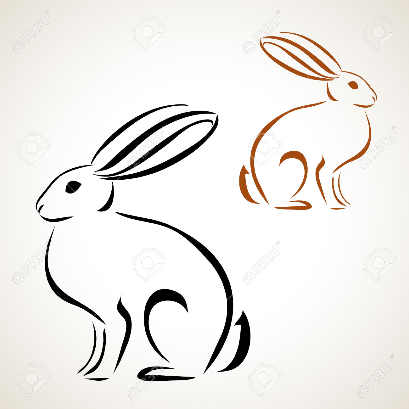 1300x1300 Easter Card With Rabbit Outline Royalty Free Cliparts, Vectors