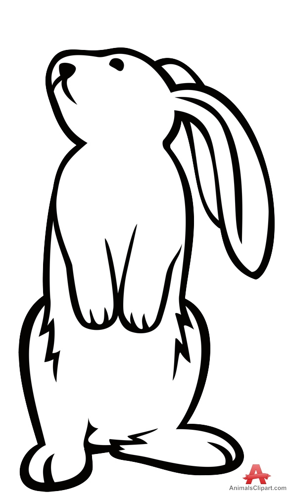 586x999 Standing Rabbit Outline Contour Drawing Free Clipart Design Download