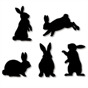 295x295 Pin Rabbit Silhouette With Chinese Character Clip Art Vector