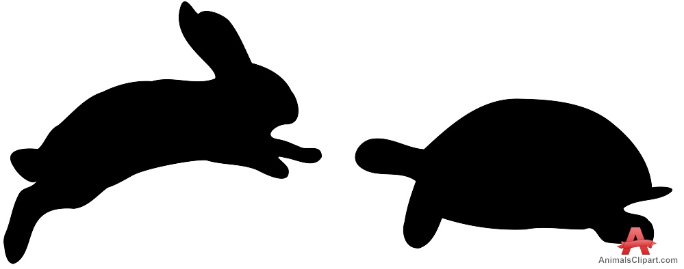 999x394 Rabbit And Turtle Silhouette Clipart Free Clipart Design Download