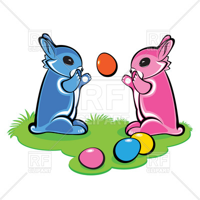 400x400 Easter Bunnies Play With Eggs Royalty Free Vector Clip Art Image